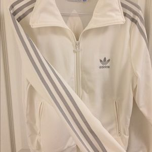 White and Silver Adidas Zip-Up Sweater